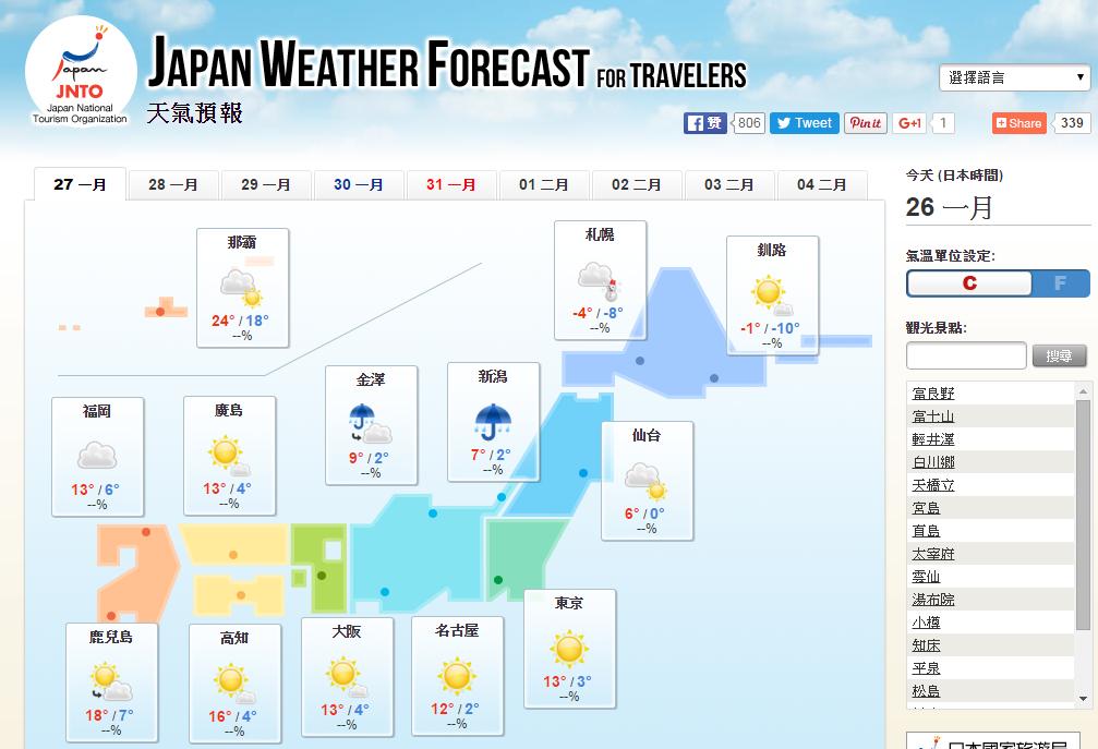 天氣預報 首頁   Japan National Tourism Organization
